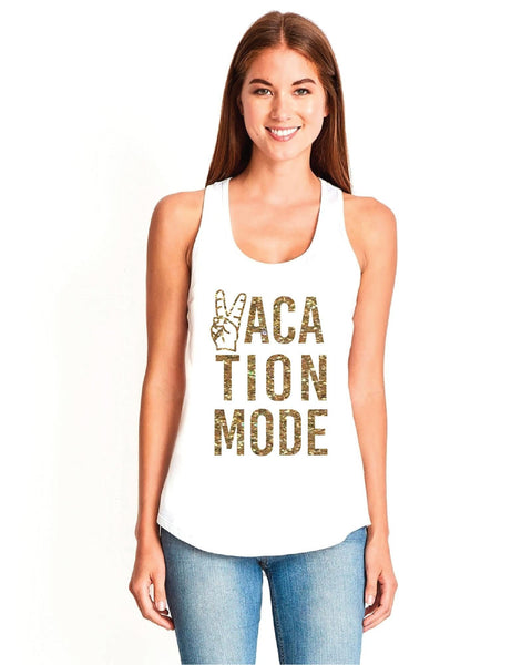 Vacation Mode Print Tank Top Peace Hand Racer Back Gathered Back Tank Custom Tank Top Custom Personalized Fitted Tank Sports Wear
