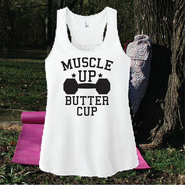 Muscle up Buttercup Tank Women's Workout Racerback Gathered Back Lifting Tank Top Custom Personalized Fitted Tank Sports Wear