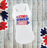 Star Spangled and Hammered Women's Racerback 4th of July Gathered Back Tank Custom Tank Top Custom Personalized Fitted Tank Sports Wear
