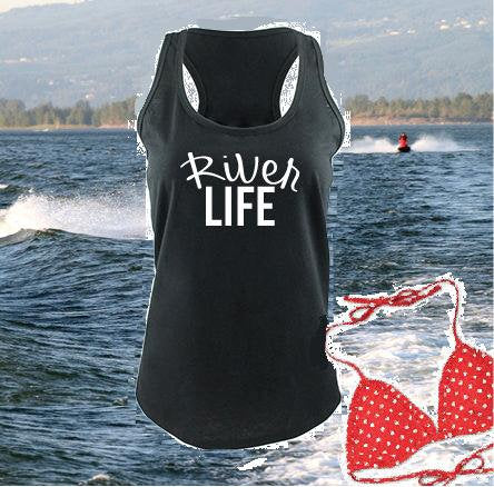 River Life Tank Women's Racerback River Cover Up Gathered Back Tank Custom Tank Top Custom Personalized Fitted Tank