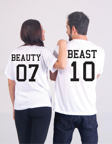 68aa79fc Beauty and Beast Wedding Date Tees Couples Anniversary Graphic Tee Your  Custom Unisex T-shirt