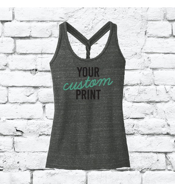Custom Print Women's Tank Dark Grey Twisted Racerback Slub Yarn Gathered Back Tank Custom Tank Top Custom Personalized Fitted Tank