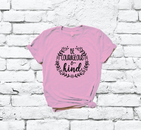 19a0d4727 Be Courageous and Kind Tee Humanitarian Shirt Floral Wreath Print Women's  Crew Neck T-shirt