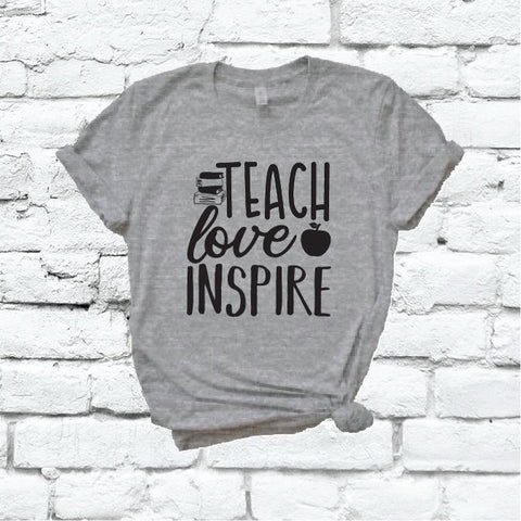 6c4a2c248 Teach Love Inspire Shirt Apple Books Teacher Graphic Tee Unisex Crew Neck T- shirt Custom