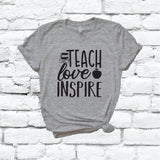 Teach Love Inspire Shirt Apple Books Teacher Graphic Tee Unisex Crew Neck T-shirt Custom Colors Shirt Relaxed Retail Fit Tee