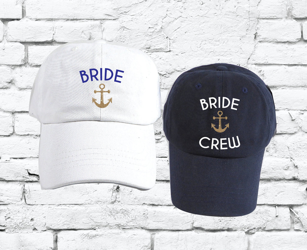 aa6f528db Bride Crew Nautical Dad Hats Bachlorette Party Unstructured Hat Party Hats  Wedding Party Bridesmaids Gifts