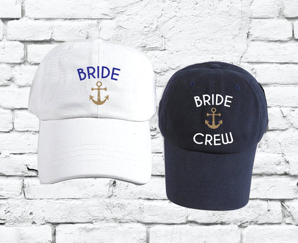 Bride Crew Nautical Dad Hats Bachlorette Party Unstructured Hat Party Hats Wedding Party Bridesmaids Gifts