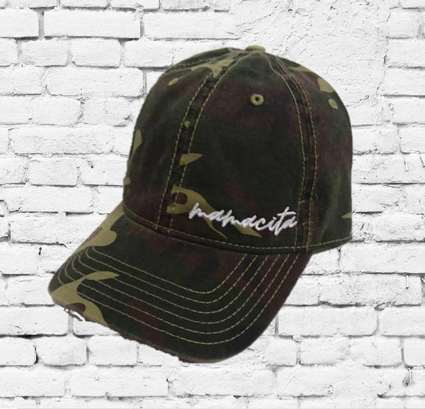 Mamacita Embroidery Washed Camo Dad Hat Camoflauge Hunting Brim Hat Cap Green Camo Hat Dad Baseball