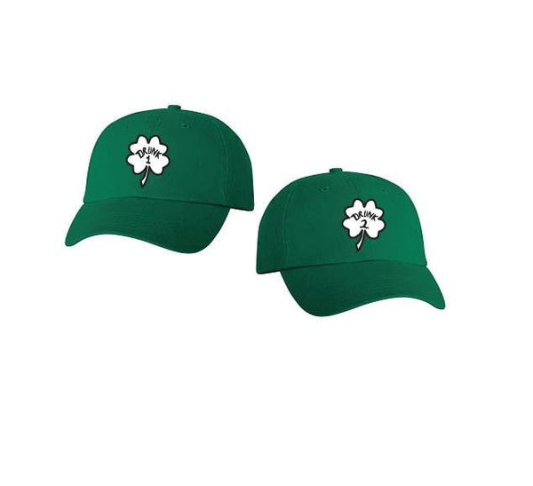 Drunk 1 and Drunk 2 Shamrock Unstructured Dad Hat Party Hats Green Four Leaf Clover hats Saint Patricks Day