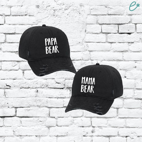 74125ed530edf Mama Bear and Papa Bear Hats Mom and Dad Embroidery Ripped Distressed Dad  Couples Hat Twill
