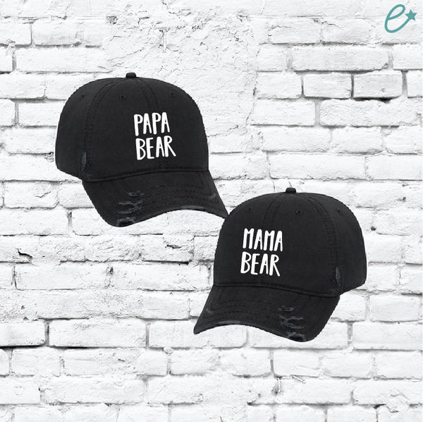 Mama Bear and Papa Bear Hats Mom and Dad Embroidery Ripped Distressed Dad Couples Hat Twill Washed Cotton Baseball Cap Baby Announcment