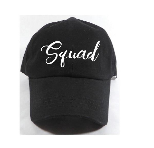 Squad Unstructured Dad Hat Birthday Bachlorette Wedding Party Hat Light Pink, Navy and White or Your Color Choice