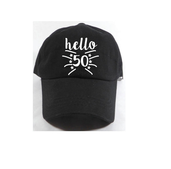 Hello 50 40 30 21 Any Age Unstructured Dad Hat Birthday Squad Tribe Wedding Party Hat Light Pink, Navy and White or Your Color Choice