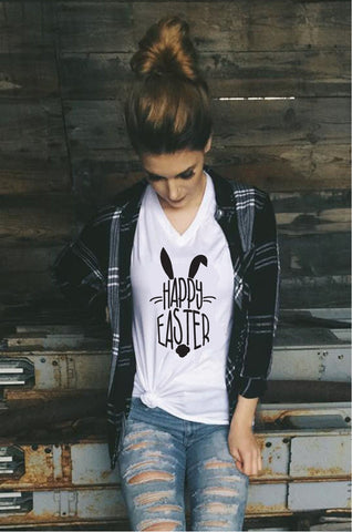 142260112 Happy Easter Bunny with Cotton Tail Tee Cute Rabbit Print Custom Women's  V-Neck T