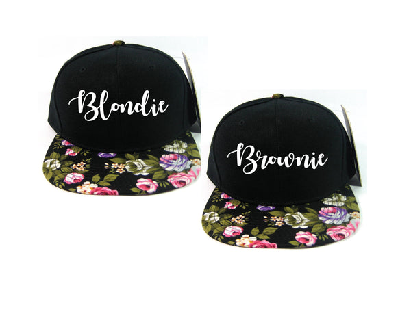 Blondie and Brownie Black and Pink Rose Floral Snapback Hats Cursive Lettering Blonde and Brunette Hats Best Friend Snapbacks Flatbill Hats