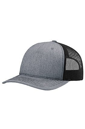 Custom Embroidery Trucker Hat Heather Grey and Black Richardson 112 Your  Custom Print Mesh Back Trucker Hat