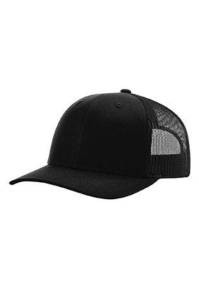 Custom Embroidery Trucker Hat Heather Solid Black Richardson 112  Your Custom Print Mesh Back Trucker Hat