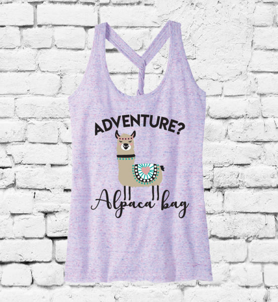 Adventure? Alpaca Bag Women's Tank Dark Grey Twisted Racerback Slub Yarn Gathered Back Tank Custom Vacay Vacation Vibes Personalized Fitted