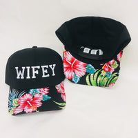 Wifey and Hubby Hats Honeymoon Cruise Hawaiian Floral Hats Baseball Caps Curved Brim Hats Pair BFF