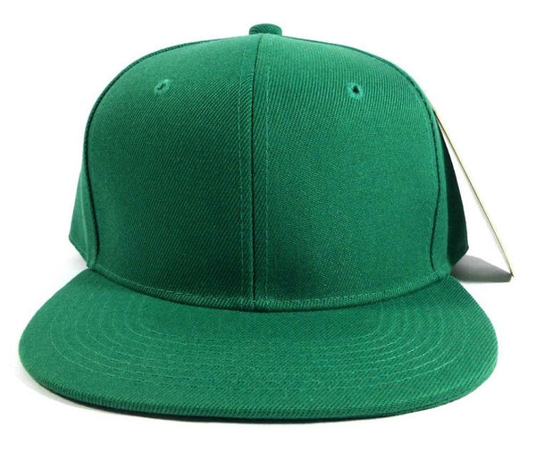 Custom Embroidery Snapback Hat Green Embroidered Hat Your Color Choice Custom Embroidery Solid Flat Bill Snapback