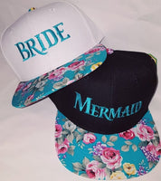 Bride and Mermaid Hats Teal Floral Snapbacks Black and Rose Flowers Floral Hats Couple Hats
