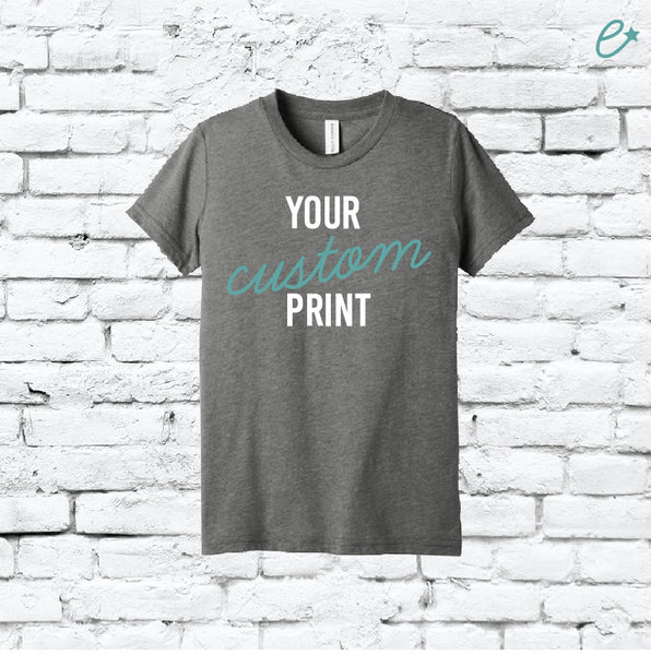Youth Custom Tee Custom T-shirt Personalized Short Sleeve Tee Fine Jersey Tee Kids Sizes