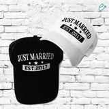 Just Married Trucker Hats Marriage Pair Couple Est. Your Year Custom Trucker Hats Mesh Back Hats with Snapback