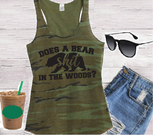 Does a Bear shit in the woods? Floral Women's Camo Scoop Neck Racer back Tank Top Country Shirt Soft Camoflauge Tank Top Green Cami