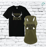 Papa Buck Mama Doe Family Couples Tee and Tank Mom and Dad Baby Announcement
