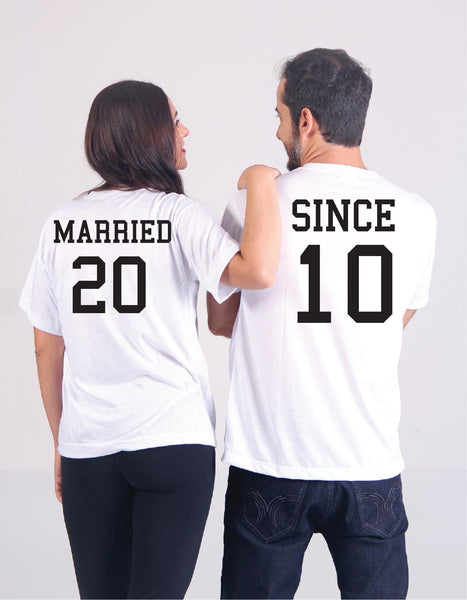 Married Since Wedding Date Tees Couples Anniversary Graphic Tee Your Custom Unisex T-shirt Engagement Announcement