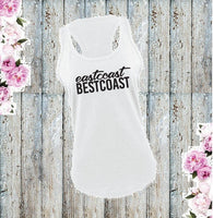 West Coast Best Coast Graphic Tank Top Local Pride USA Shirt Women's Gathered Back