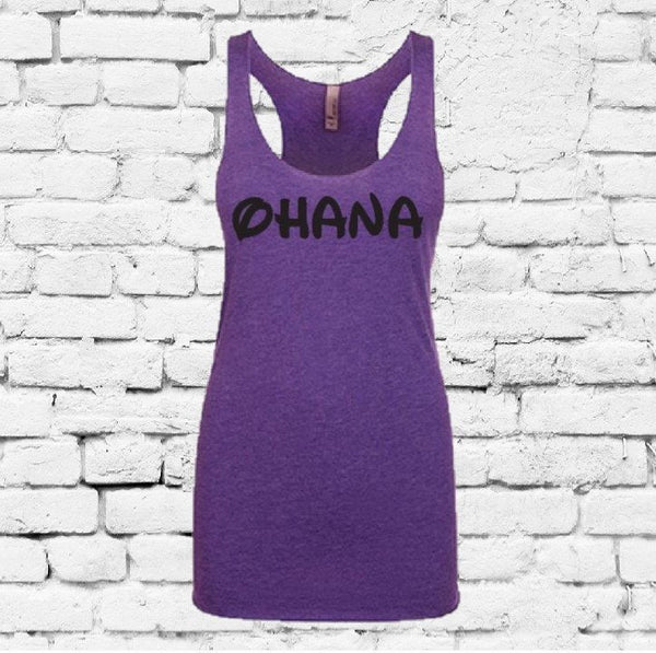 Ohana Women's Racer back Tank Workout Summer Vacation Graphic Tee Soft Fitted Tank Custom Tank Top Custom Personalized Colors