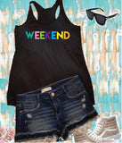 Weekend Tank Women's Racer back Tank Top Beachy Vacation Summer Graphic Tee Soft Fitted Custom Colors with Long Length
