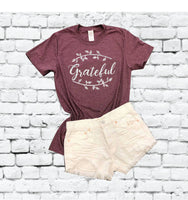 Grateful Tee Fall Shirt Fall Graphic Tee Fall Autumn Thankful Wreath Fall Leaves Shirt Wine Time Unisex Crew Neck T-shirt Relaxed Retail Fit