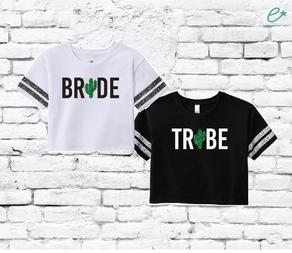 Bride Tribe Cactus Tees Women's Varsity Cropped Tee Crop Top T-shirt Bachlorette Party Shirts Bridal Party Bridesmaids Gifts Desert