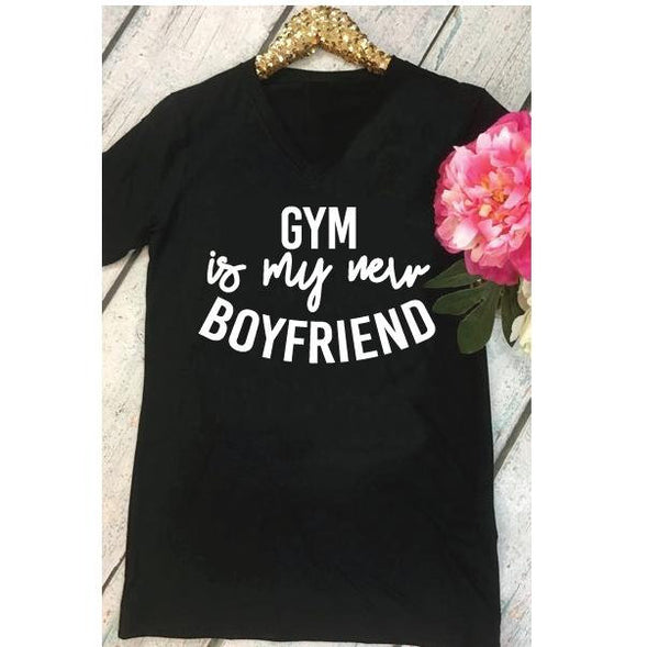 GYM is my New Boyfriend Shirt Workout Print Custom Women's V-Neck T-shirt Exercise Weight Loss Challenge Shirt Tee Personalized Relaxed