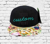Custom Embroidery Kids Floral Hat Black and Pink Yellow Flower Snapback Youth Kids Juniors Black Hat Childs Size Snapback Toddler Hat