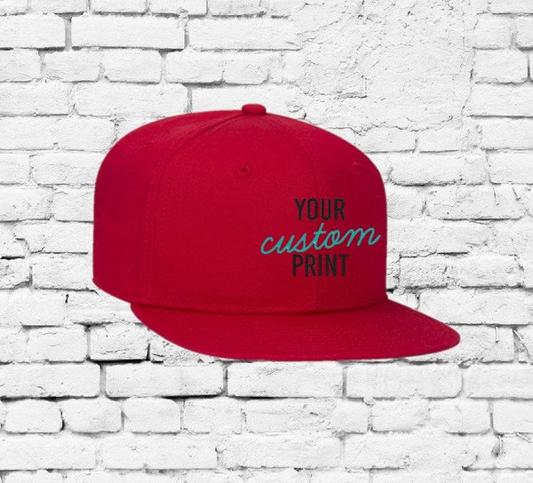 Custom Red Youth Hat Embroidery Solid Snapback Kids Juniors Childs Size Flat bill Cap