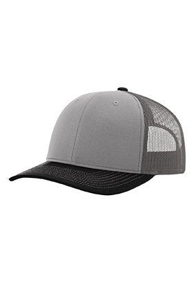 Custom Embroidery Trucker Hat Grey Charcoal and Black Richardson 112 Your Custom Print Mesh Back Trucker Hat