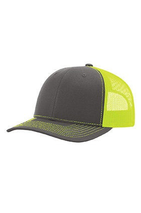 Custom Embroidery Trucker Hat Grey and Yellow Richardson 112 Your Custom Print Mesh Back Trucker Hat