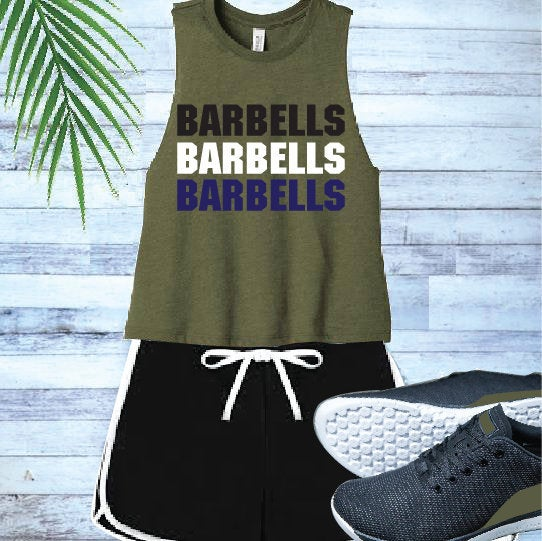 Barbells Crop Tank Crossfit Women's Racerback Cropped Soft Fitted Tank Custom Tank Top