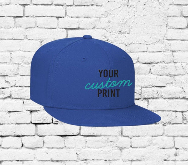 Custom Royal Blue Youth Hat Embroidery Solid Snapback Kids Juniors Childs Size Flat bill Cap
