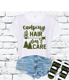 Camping Hair Don't Care Crop Top Shirt Happy Camper Graphic Tee Camping Trip T-shirt