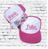Bride Tribe Trucker Hawaiian Print Hats Bachlorette Beach Beachy Tropical Hawaii Party Hats Mesh Back Hats with Snapback