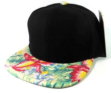 Custom Hawaiian Snapback Two-tone Black and Green Floral Hat Hawaii Beach or Vacation Theme Cap Your Custom Text or Logo