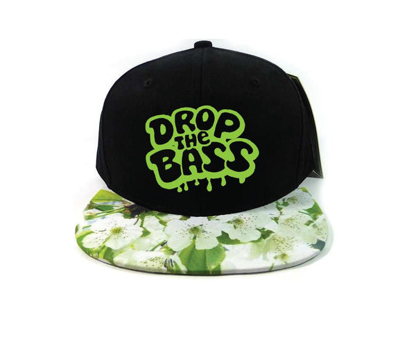 Floral Bass Head Drop the Bass Snapback Black Cap with Multicolor Brim