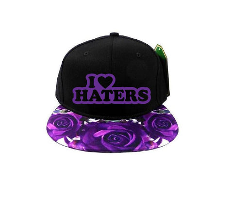 Custom I love haters Snapback Purple Rose Floral Snapback Funny Hat