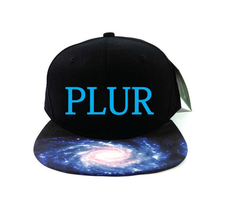Custom Galaxy PLUR Snapback Hat Black and Teal Milkyway Snap Back