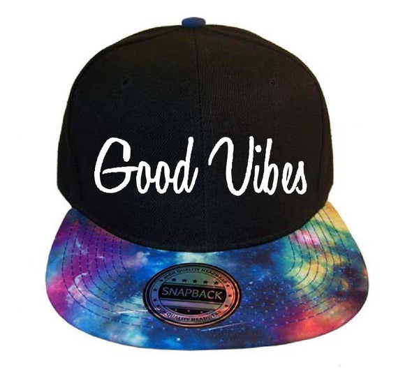 Galaxy Good Vibes Snapback Black Cap with Cosmic Blue Multi Color