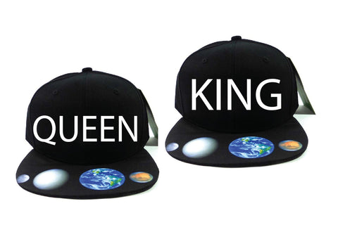 King and Queen Galaxy Snapback Couple Snapback Couple hat king hat queen hat